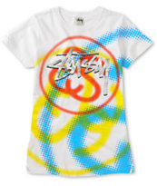 Stussy Girls Stocks & Links White Tee Shirt