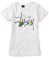 Stussy Girls Skinny Stock White Tee Shirt
