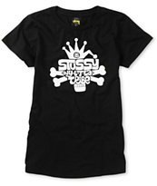 Stussy Girls Skull City Tribal Black Tee Shirt