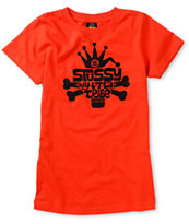 Stussy Girls Skull City Tribal Red Tee Shirt