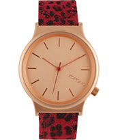 Komono Wizard Print Red Leopard Watch
