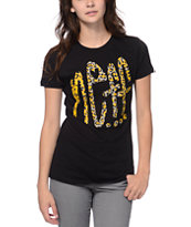 Neff Girls Benev Leopard Print Black Tee Shirt