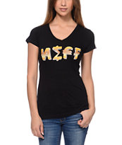 Neff Girls Eccent Black V-Neck Tee Shirt