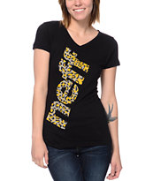 Neff Girls Composite Leopard Print Black Tee Shirt