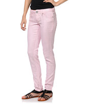 Almost Famous Pink Novelty Denim Skinny Jeans