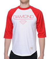 Diamond Supply Whitespace Raglan Red & White Baseball Tee Shirt