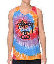 Stussy Stock Link Swirl Orange Tie Dye Tank Top
