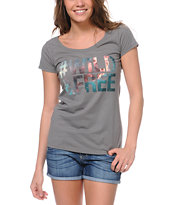 Bitter Sweet #Wild & Free Grey Scoop Neck Tee Shirt