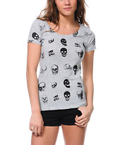 Bitter Sweet Skull Face Heathe Grey Scoop Neck Tee Shirt