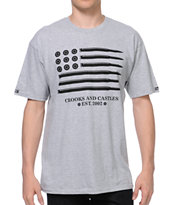 Crooks and Castles Ammo Flag Grey Tee Shirt