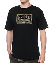 Crooks and Castles Rain Camo Black Tee Shirt