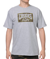 Crooks and Castles Rain Camo Grey Tee Shirt