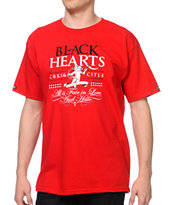 Crooks and Castles Black Hearts Red Tee Shirt