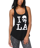 Volcom Girls Skull Phone LA Black Tank Top