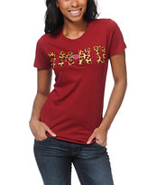 Diamond Supply Girls DMND Leopard Red Tee Shirt