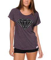 Diamond Supply Girls Diamondaire Purple V-Neck Tee Shirt