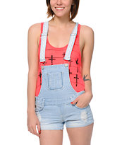 Almost Famous Light Blue Short Overalls