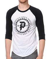Primitive Unity White and Black Baseball Tee Shirt