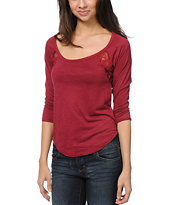 Almost Famous Merlot Red Lace Top