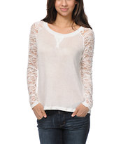 Almost Famous Cream White Lace Top