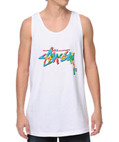 Stussy Flower Stock White Tank Top