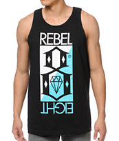 REBEL8 Logo Flip Logo Black Tank Top