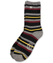 Obey Moss Mountain Charcoal Grey, Yellow, & Red Stripe Crew Socks
