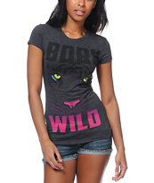 A-Lab Girls Born Wild Charcoal Tee Shirt