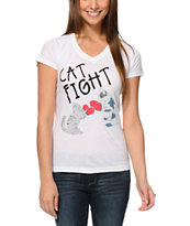 A-Lab Girls Cat Fight White V-Neck Tee Shirt
