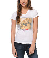 A-Lab Girls BFF White V-Neck Tee Shirt