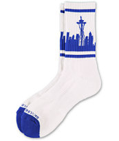 Skyline Socks Seattle White &  Blue Crew Socks