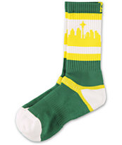 Strideline SeaTown Green, Gold & White Crew Socks