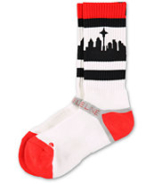 Strideline SeaTown Red, Black & White Crew Socks