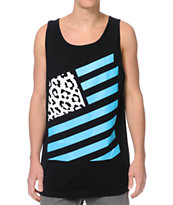 Popular Demand Takeover Flag Black Tank Top