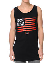 Popular Demand Cheeteah Flag Black Tank Top