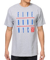 5BORO Five Boro NYC Grid Heather Grey Tee Shirt