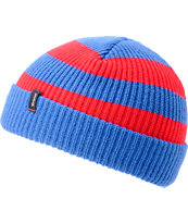 Brixton Carby Electric Blue & Red Striped Cuff Beanie