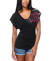 Metal Mulisha Girls Graceful Lace Back Dolman Top
