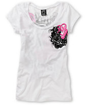 Metal Mulisha Girls Conspiracy White Scoop Neck Tee Shirt