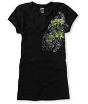 Metal Mulisha Girls Royal Flush Black V-Neck Tee Shirt