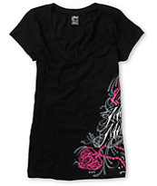 Metal Mulisha Girls Dani G Reverie Black V-Neck Tee Shirt
