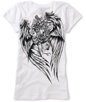 Metal Mulisha Girls Guilded White V-Neck Tee Shirt