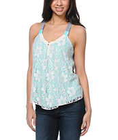 Jolt Lace Overlay Mint & Grey Tank Top