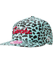 Crooks and Castles Girls Mint & Black Cheetah Snapback Hat