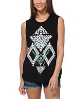 Sirens & Dolls Cheetah Geo Black Muscle Tank Top