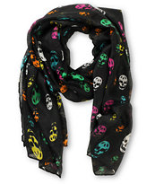Super Trader Oblong Multicolor Skull Print Multi Black Scarf