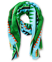 Super Trader Oblong Gemoetric Print Light Blue & Turquoise Scarf
