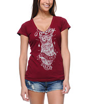 Hurley Girls Owl Red V-Neck Tee Shirt