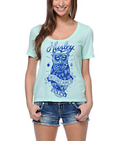 Hurley Girls Owl Mint Scoop Neck Tee Shirt