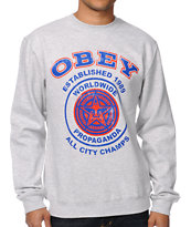 Obey All City Champs 2 Grey Crew Neck Sweatshirt